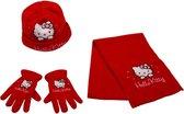 Hello Kitty winterset - Handschoenen, Muts en Sjaal - Rood - 52 cm