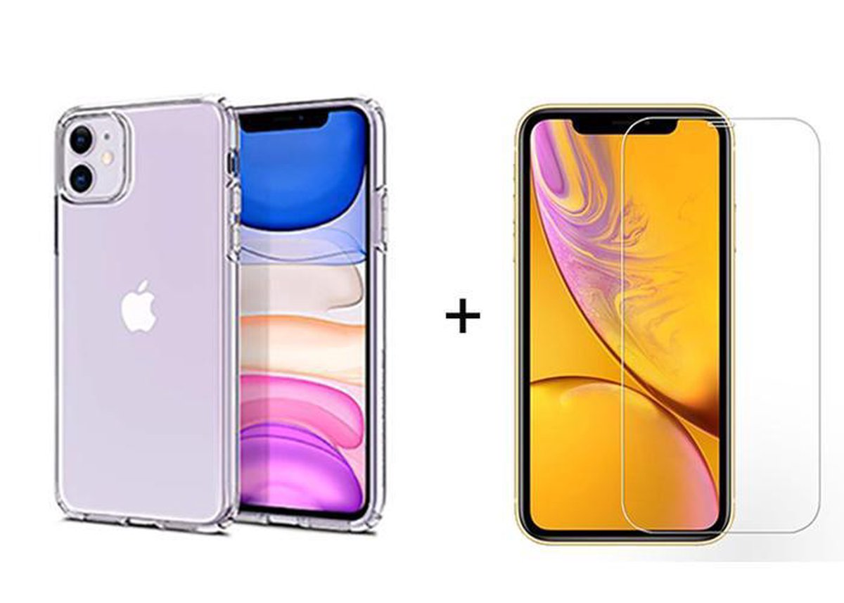 iPhone 11 hoesje transparant siliconen case hoesjes cover hoes - 1x iPhone 11 Screenprotector