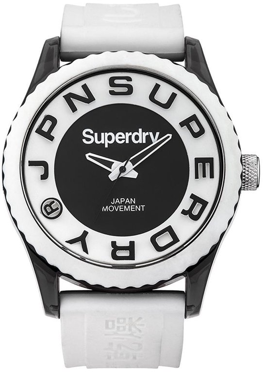Superdry Tokoy Mens White Black SYG145W - Polshorloge -Wit- 41 mm