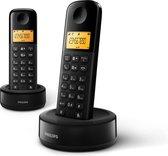 Philips D1602B/01- Draadloze DECT-telefoon met 2 handset, groot display (4,1 cm) en nummerherkenning - Zwart