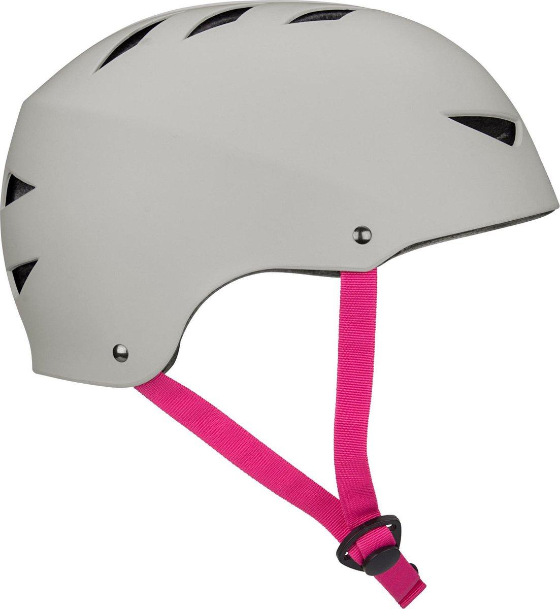 Nijdam Skate Helm - Pinky Swear - Grijs/Fuchsia - L