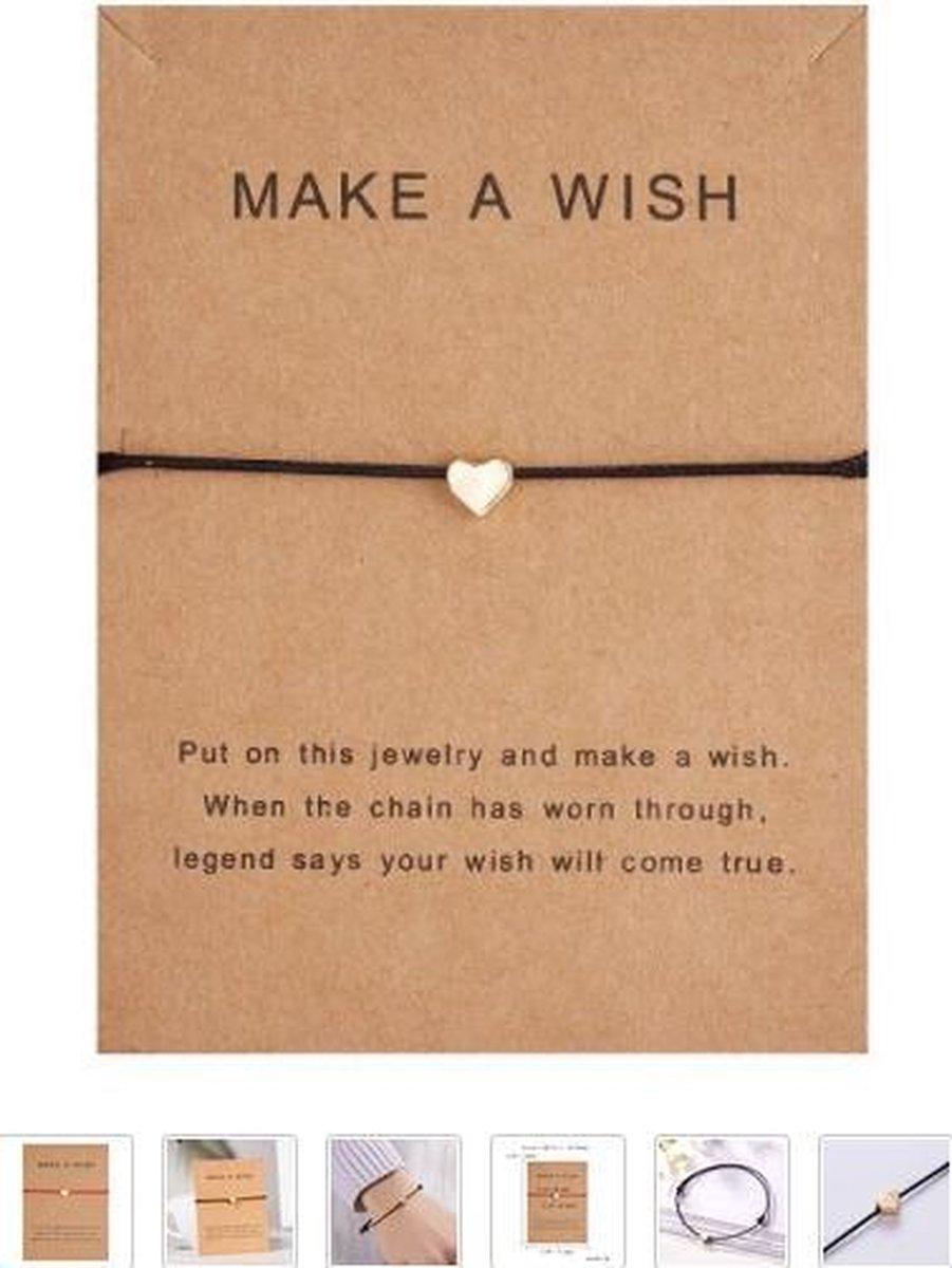 Armband - make a wish - zwart - hanger hart