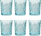 Libbey Drinkglas Hobstar Sky Blue – 355 ml/ 35,5 cl - 6 stuks - vintage design - vaatwasserbestendig - hoge kwaliteit