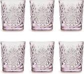 Libbey Drinkglas Hobstar Charm Lavender – 355 ml/ 35,5 cl - 6 stuks - vintage design - vaatwasserbestendig - hoge kwaliteit
