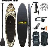 Opblaasbaar sup board complete set - Under ICE leaves - opbergtas - peddel - supbord - supboard - stand up paddle board - watersport - unisex - 320 CM - TOT 120 KG!