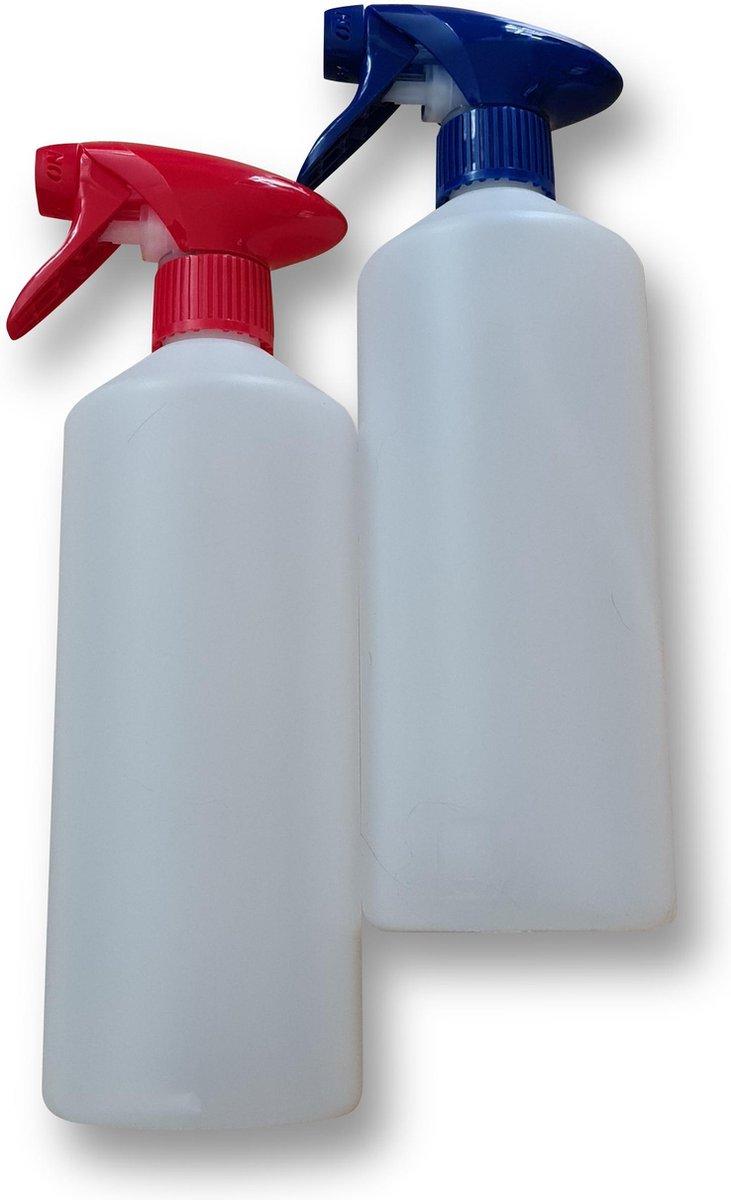 Set van 2 lege sprayflacons 750ml | Professionele afsluitbare spraykop | 1 Rode - 1 Blauwe spraykop