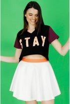 La Pèra Zwart effen T-Shirt met tekst Stay 95% Katoen Dames - Maat S