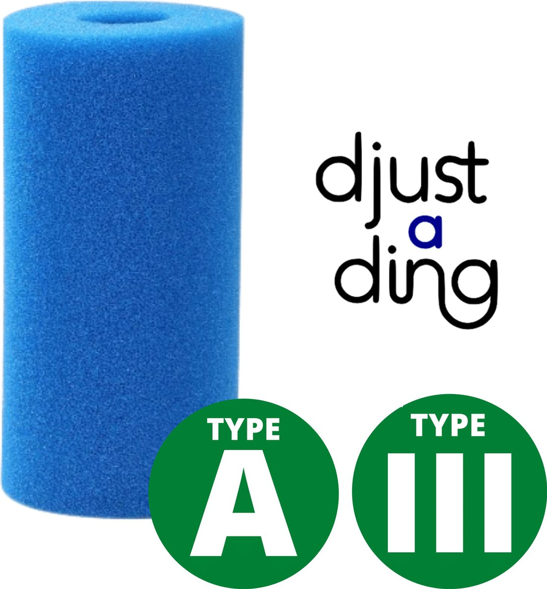 Type A / III Filter Zwembad Herbruikbaar - Geschikt als Zwembad Filter Intex of Bestway - Zwembad Onderhoud Filtercartridge - Djust A Ding