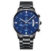 NIBOSI Horloges voor mannen - Horloge mannen – Luxe Zwart/Blauw Design - Heren horloge - Ø 42 mm – Zwart/Blauw  - Roestvrij Staal - Waterdicht tot 3 bar - Chronograaf - Geschenkset met verstelbare pin