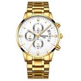 NIBOSI Horloges voor mannen - Horloge mannen – Luxe Goud/Wit Design - Heren horloge - Ø 42 mm – Goud/Wit  - Roestvrij Staal - Waterdicht tot 3 bar - Chronograaf - Geschenkset met verstelbare pin