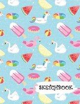 Sketchbook: Flamingo Swan Pool Fun Framed Drawing Paper Notebook
