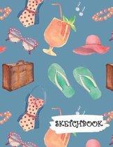 Sketchbook: Tropical Travel Fun Framed Drawing Paper Notebook