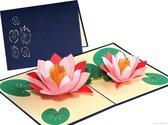 Popcards popupkaarten – Lotus bloemen in vijver felicitatie verjaardag, pop-up kaart