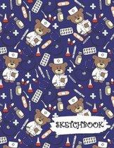 Sketchbook: Medical Doctor Nurse Bear Fun Framed Drawing Paper Notebook