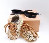 Giftbox - Mocassins - Cheetah - Babyschoentje - Leer  Kraamcadeau - Cadeau - Babygeschenk - Zwanger - Baby