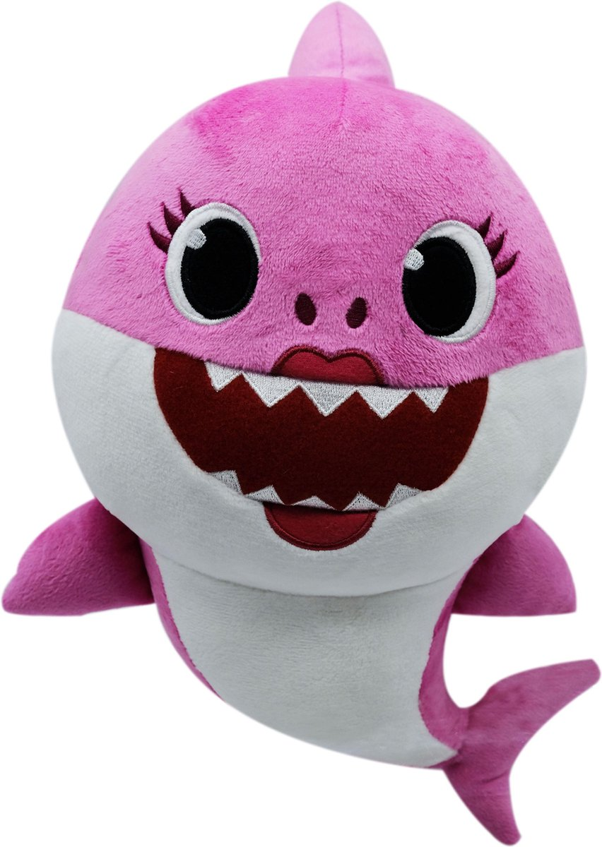 Baby Mama Shark Roze Pluche Knuffel 30 cm + Geluid met Baby Shark liedje| Originele Baby Mother Shark Pinkfong Plush | Mommy Shark |Incl. Batterijen