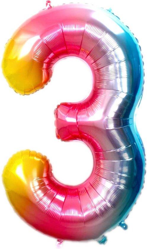 Folie Ballon Cijfer 3 Jaar Regenboog 86Cm Verjaardag Folieballon Met Rietje