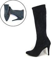 Stravers Maat 43 Lange Stretch Laarzen Zwart Hoge Hakken Grote Maten Laarzen