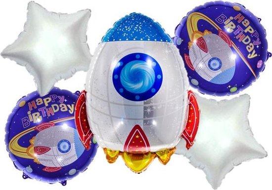 Raket-Set(5Stuks)-zilver-Sterren-Folie-Ballonnen-NU TIJDELIJK 1 + 1 GRATIS