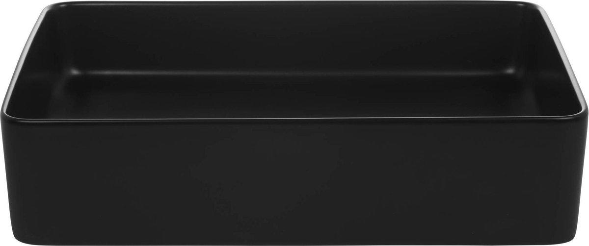 Saqu Sink Waskom Keramiek Vierkant 35x50x14,5 cm Glans Zwart