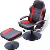 Tv-fauteuil met voetensteun verstelbaar kunstleer zwart/rood