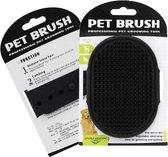 Kattenborstel - Hondenborstel - Vacht verzorgingsborstel hond en kat - siliconen haarborstel - flexibele massage borstel - haar– en klittenkam - Zwart