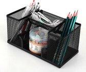 Pennenbak met 4 vakken voor pennen, potloden, notitieblok / post it en paperclips etc - Mesh bureau organizer - pennenbakje van metaal / gaas - pennenhouder - bureau organizer Kleur: Zwart – Decopatent®