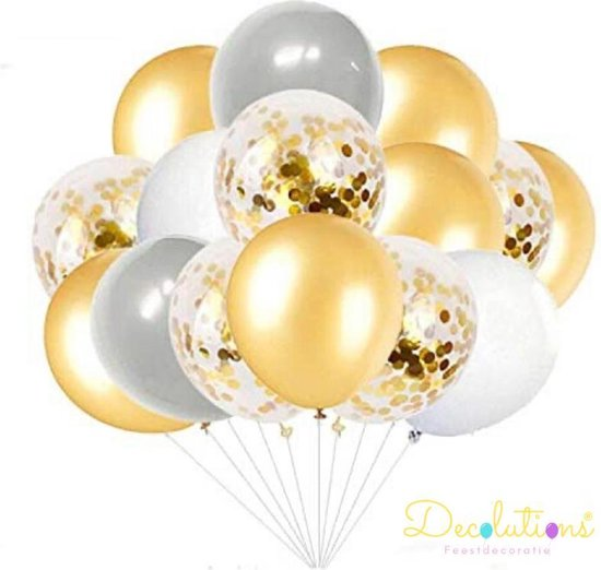 Decolutions 40 Latex Ballonnen Goud, Wit, Grijs en Confetti Helium Met Lint – Luxe - Decoratie – Latex - Kwaliteit - Verjaardag - Feest - Decoratie - Versiering - Ballon