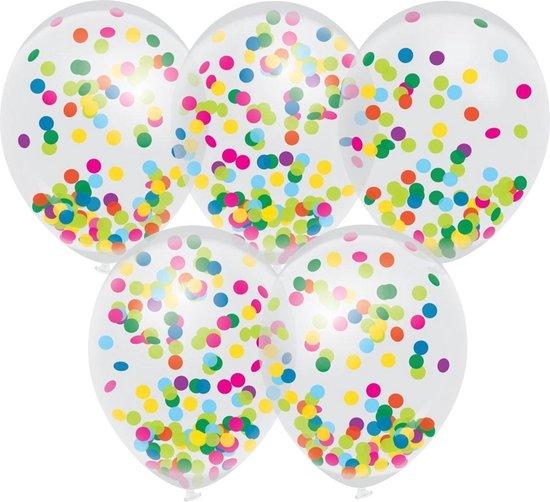 5x Confetti thema feest ballonnen 30 cm - Kinderfeestje/kinderverjaardag - Feest/verjaardag - Thema feest - Confetti feestversiering - Ballonnetjes confetti