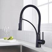 Premium Zwarte Keukenkraan - Mengkraan - Uittrekbare Uitloop - Zwarte Kraan - RVS - LA121