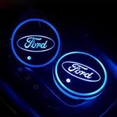Coole Lichtgevende LED Onderzetters - Bekerhouders - Sfeerverlichting - LED Licht - Interieur Verlichting - 7 Verschillende Kleuren LED - Opladen via USB – Ford