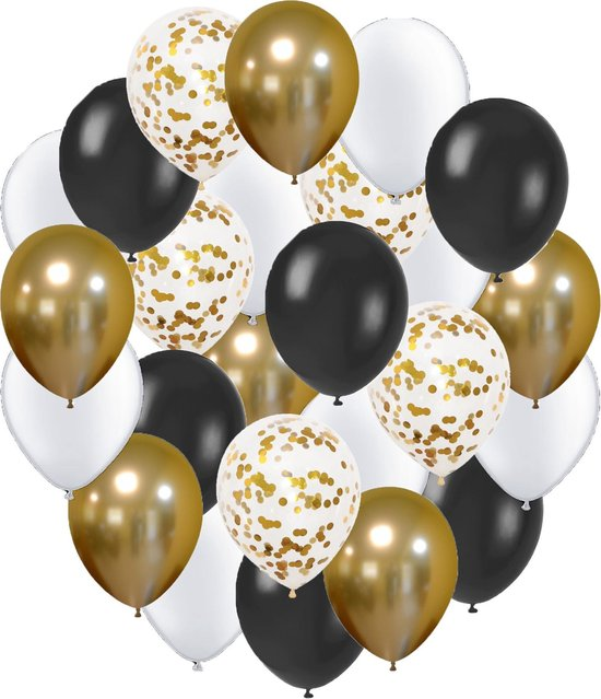 Goud, Zwart & Wit Helium Ballonnen met Lint -  32 stuks