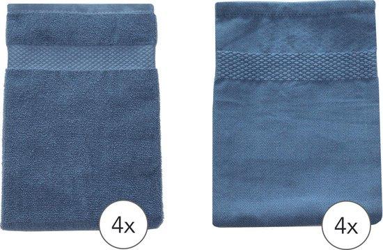 EM Kitchen Set Blauw - 4 Theedoeken 50x70cm + 4 Keukendoeken 50x50cm