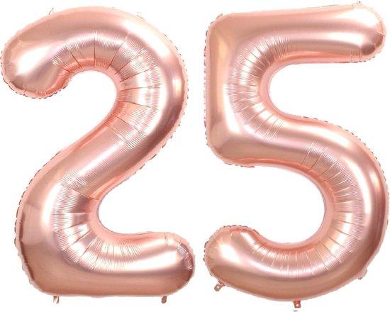 Folie Ballon Cijfer 25 Jaar Rosé Goud 36Cm Verjaardag Folieballon Met Rietje