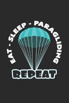 Eat sleep paragliding repeat: 6x9 Paragliding - dotgrid - dot grid paper - notebook - notes