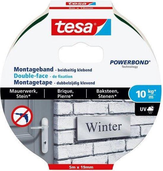 Tesa montagetape dubbelzijdig voor steen & baksteen - 5 m x 19 mm. - Tesa