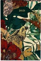 Botanic mini agenda 2021 - 8 x 12 cm klein formaat - lannoo - vogel - bladeren - geel