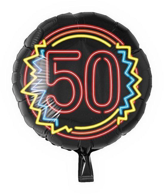 Helium Ballon 50 Jaar Neon 46cm leeg