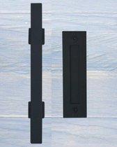 Deurgreep Hudson Square (voor en achter) - zwart gepoedercoat
