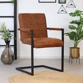 Bronx71® Eetkamerstoel cognac Block - Eetkamerstoelen met armleuningen - Industrieel - Eco leer stoel - Waterafstotend - Eetkamerstoel bruin