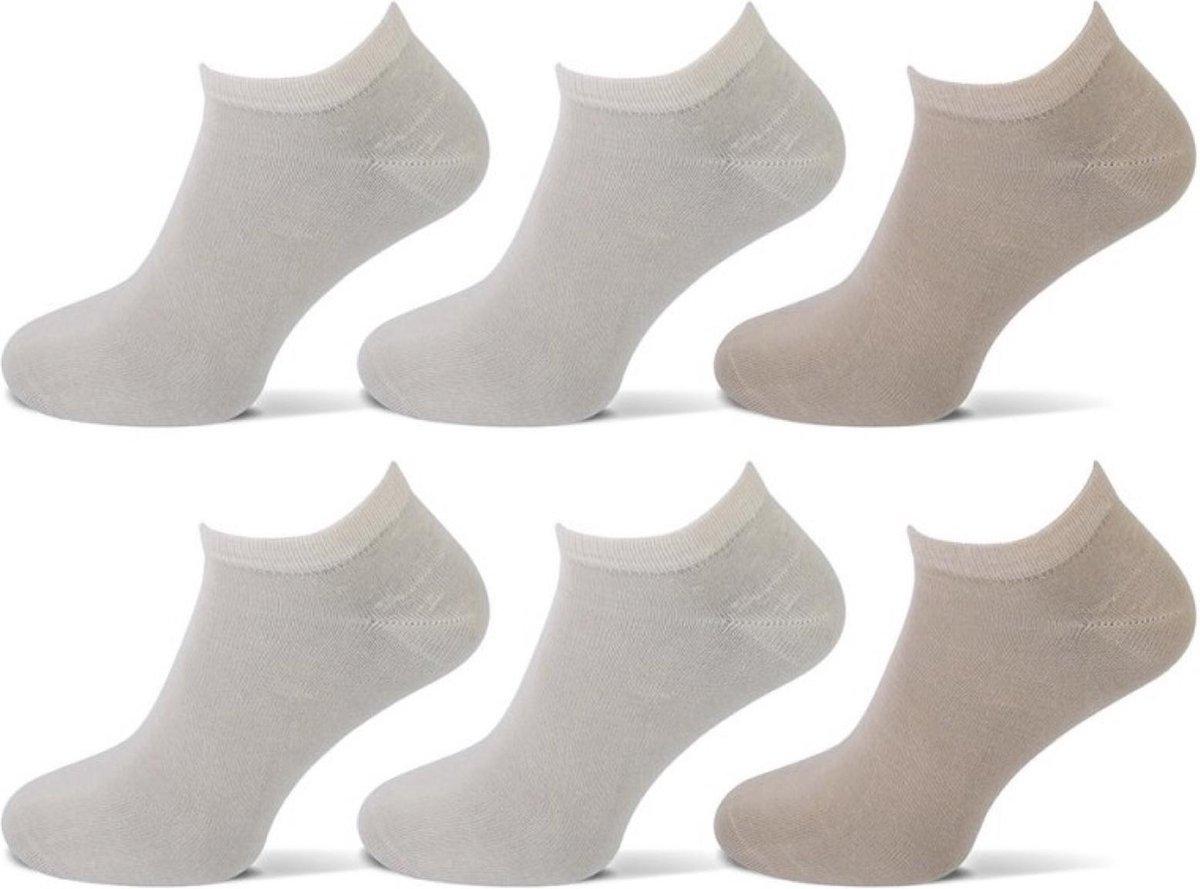 Teckel Sokken sneaker 6 paar - Beige - Multipack Unisex Maat 39-42