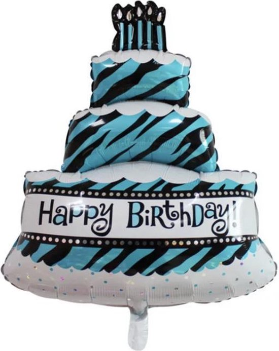 HBD-Tiffany- NU 1 + 1 GRATIS- Taart-Groot-Blauw-Ballon