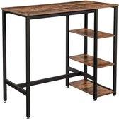 MIRA Bartafel rechthoekig - Bartafel met 3 planken - Industrieel - Donker bruin - 109x60x100