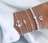 CHARO - 5 Delige Armbanden set - Zilverkleurig