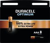 Duracell Optimum Alkaline AAA-batterijen, 1,5V LR03 MX2400, 8 stuks