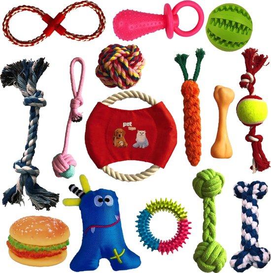 Petloverz - Hondenspeelgoedset - Knuffel - Speelgoed - Intelligentie - 15 speeltjes