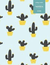 College Ruled Notes 110 Pages: Cactus Floral Notebook for Professionals and Students, Teachers and Writers - Bright Yellow Pottery and Cactus Pattern
