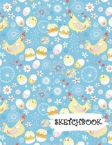 Sketchbook: Chicken Egg & Cupcake Fun Framed Drawing Paper Notebook