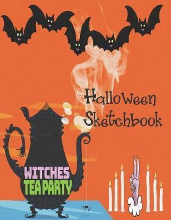 Witches TeaParty Halloween Sketchbook: Cute Halloween Gift Book, large 8.5 x 11in pages for drawing doodling sketching or making memories