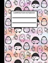 Hedgehog Composition Notebook: Collage Ruled, Cute Hedgehog Deign, Perfect For Kids, Notebook For School